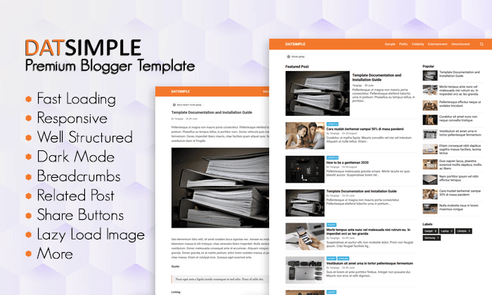 Datsimple Pemium blogger Template