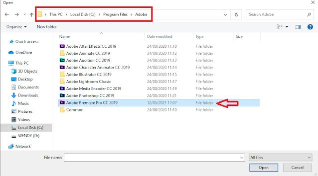Cari dan pilih aplikasi Adobe Premiere