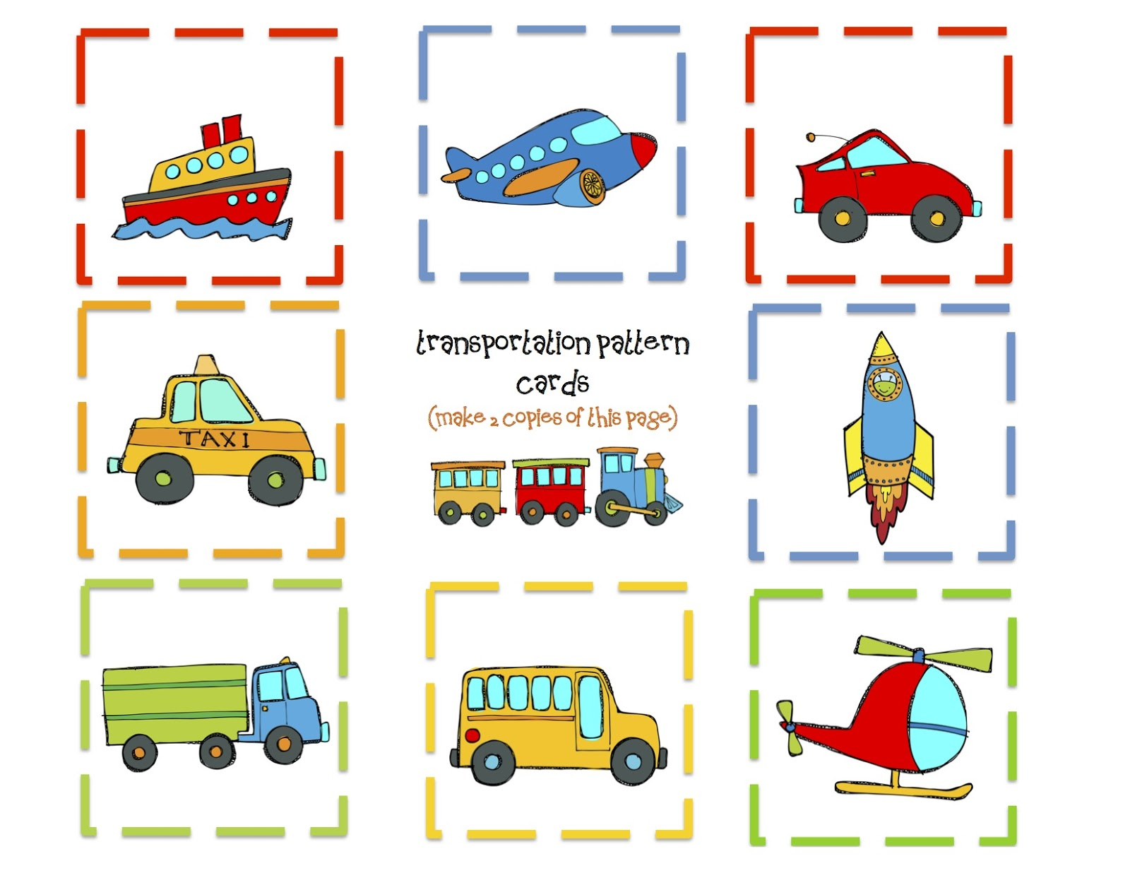 Transportation 9 Pattern Cards