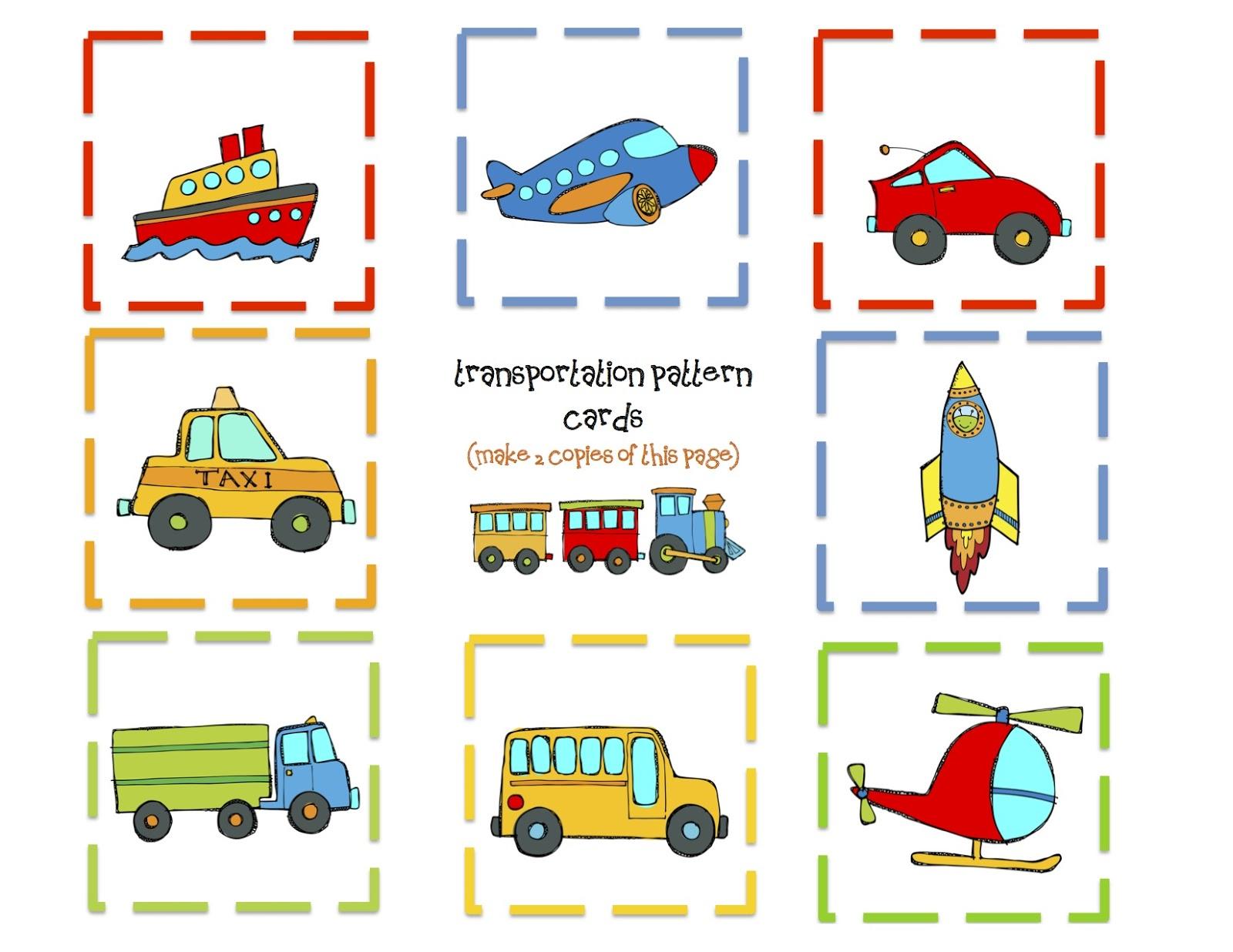 Transportation 9 Pattern Cards