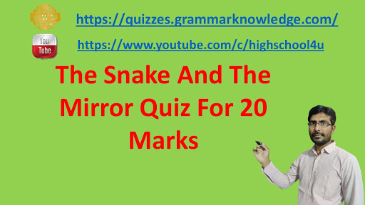 The Snake And The Mirror Quiz For 20 Marks