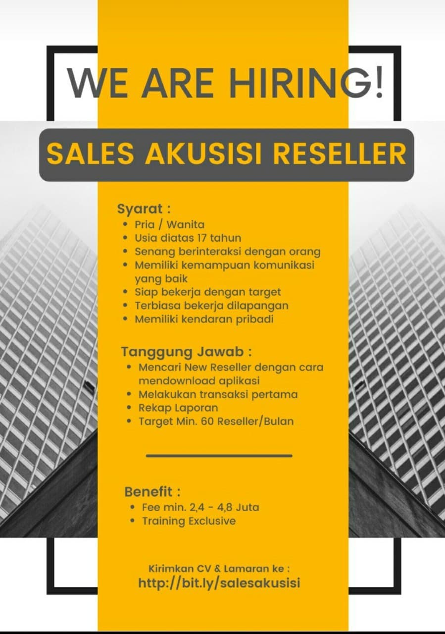 Lowongan Kerja Sales Akuisisi Reseller Bandung Mei 2021