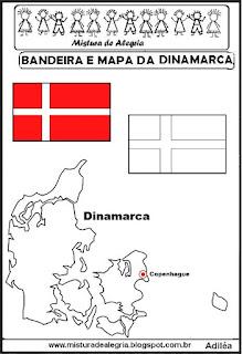 Bandeira e mapa da Dinamarca