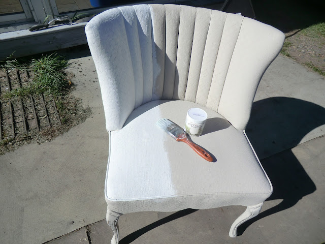 painting a fabric chair with serenity cottage paint at The Camellia