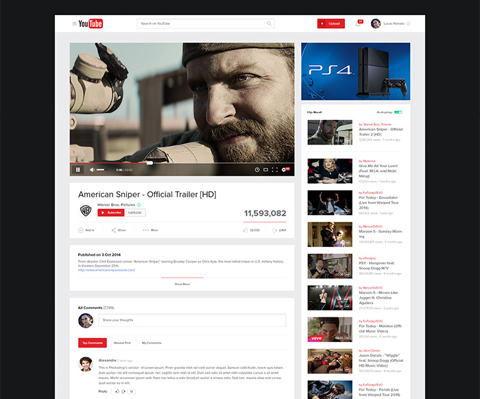 Youtube layout design