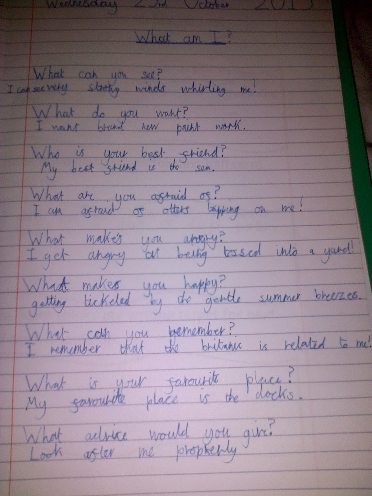 St Clare S Class Blog Personification Poems