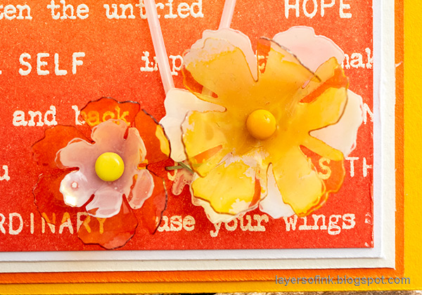 Layers of ink - Inky Ombre Card Tutorial by Anna-Karin Evaldsson. Clearly For Art Modeling Film dimensional DIY flowers.