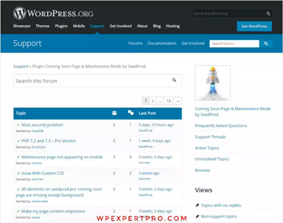 Support Options in WordPress