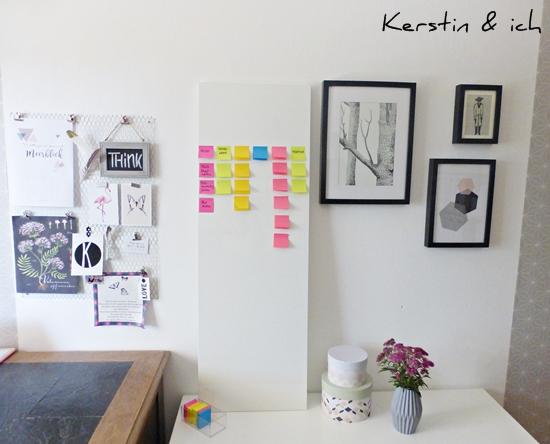 Arbeitszimmer mit DIY Projekt Organizer Pinboard
