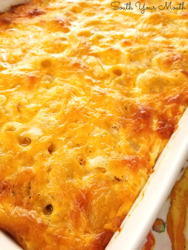 """Southern-Style Macaroni & Cheese - My grandmother's recipe for Southern Mac & Cheese made the traditional """"custard-style"""" way using eggs and evaporated milk then baked to golden, cheesy perfection."""