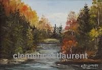Nord de l'Ontario, tableau à l'huile 5 x 7 par Clémence St-Laurent - rivière coulant au milieu d'une forêt en automne