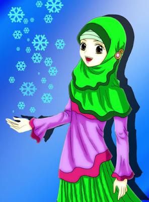 kartun animasi muslimah imut cantik dengan bunga