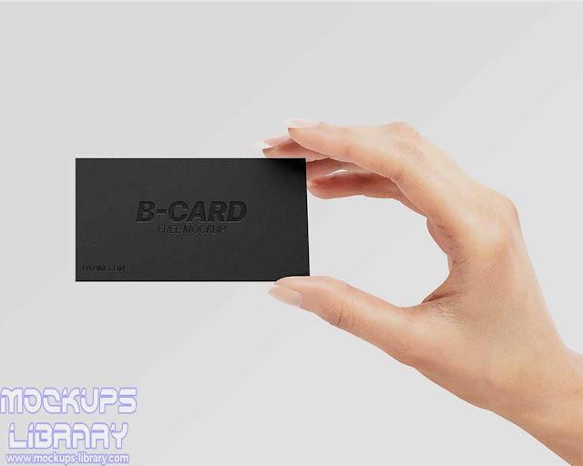 hand held business card mockup
