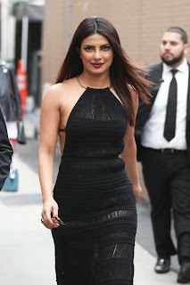 Priyanka Chopra in a black gown by Ralph Lauren in Hollywood