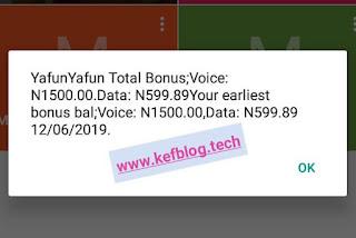 MTN Yafun Yafun bonus balance after recharging 300 naira airtime