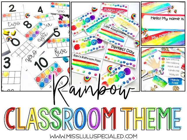 rainbow watercolor classroom decor bundle for elementary or middle school teachers