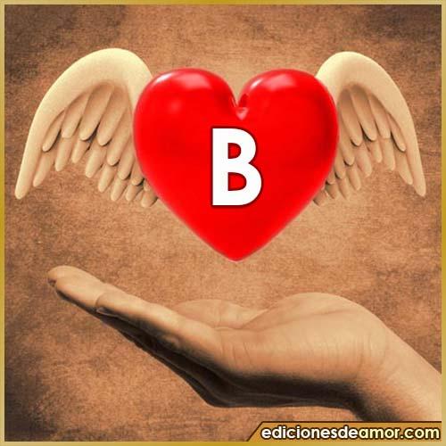 corazón con alas con letra B