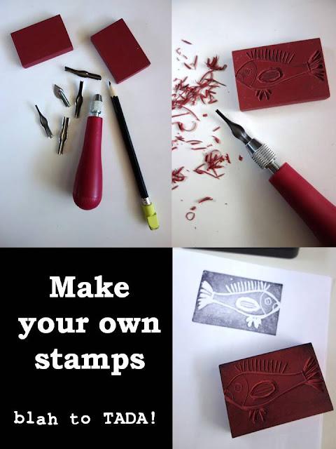 Make your own stamp, Make your own stamp using erasers