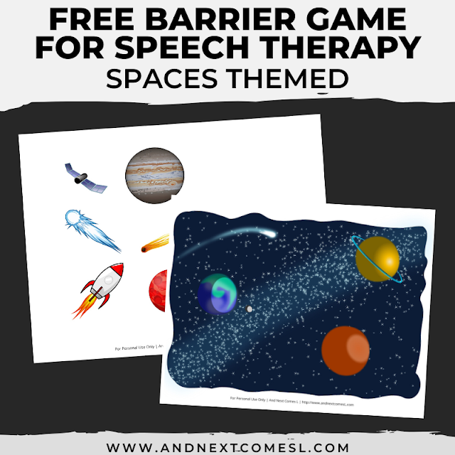 Free speech therapy barrier game: space themed