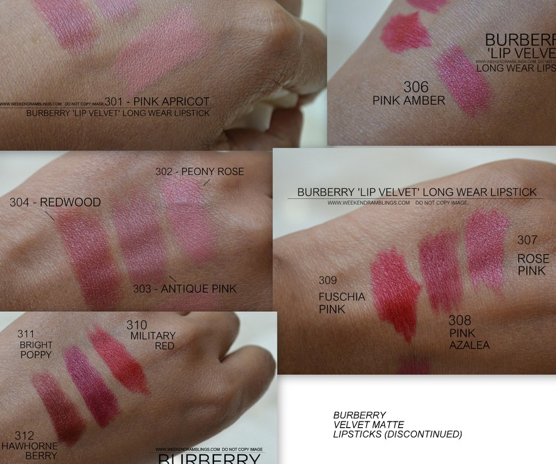 Buberry Lip Velvet Matte Lipsticks 301 Pink Apricot - 306 Pink Amber - 304 Redwood - 309 Fuschia Pink  308 Pink Azalea - 307 Rose Pink - 312 Hawthorne Berry - 311 Bright Poppy - 310 Military Red