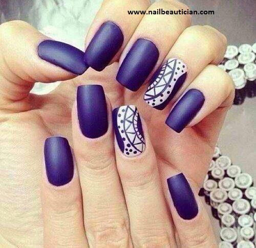 Dark Blue Matte Nail art
