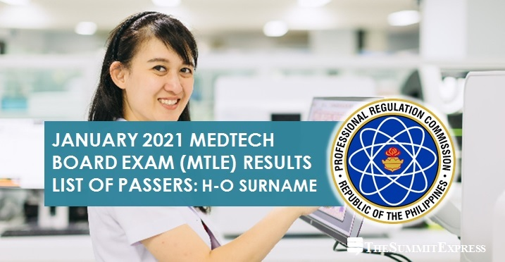 H-O Passers: January 2021 Medtech board exam result