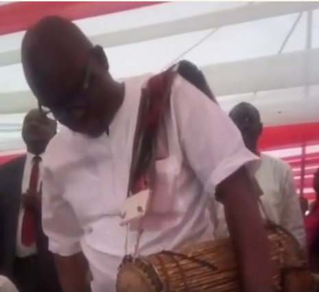 WATCH VIDEO: Fayose turns drummer at party