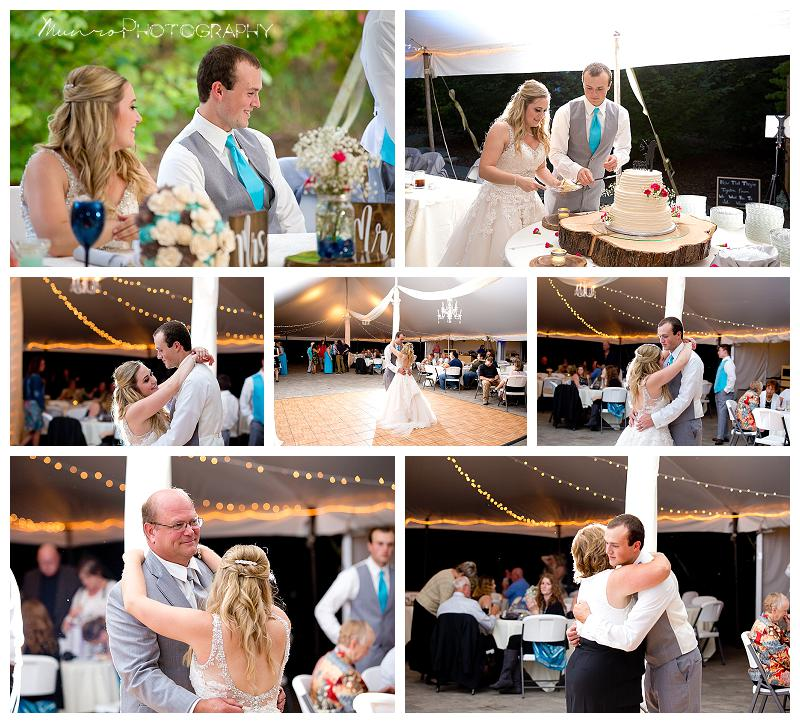 tented reception, daddy dance, first dance, mother son dance, cake cutting, speeches