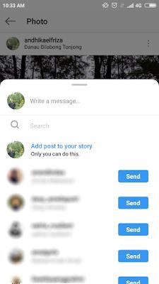 Kirim Postingan Instagram ke Story