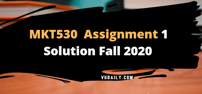 MKT530 Assignment No 1 Solution Fall 2020