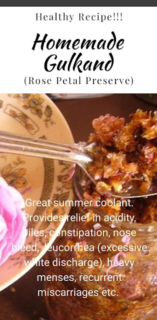 homemade gulkand (Rose Petal Preserve)