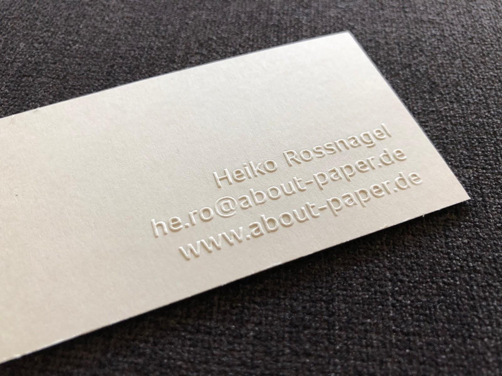 Neue About Paper Visitenkarten