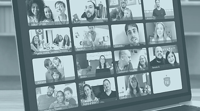 Imagem promocional do documentário Janelas da Quarentena, mostrando uma tela imitando uma chamada de videoconferência entre diversos pais.
