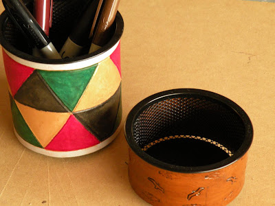 pencil cup and paper clip cup - mesh wrapped in leather