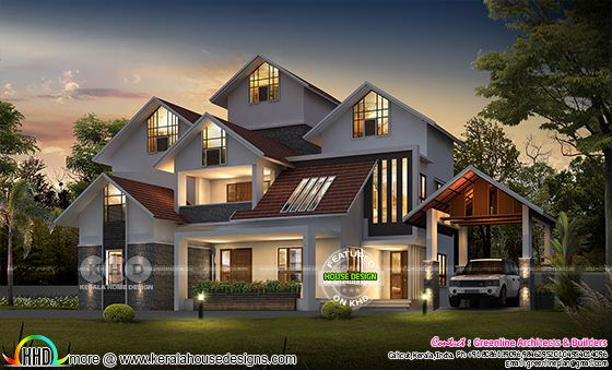 Awesome 4 bedroom sloping roof luxury house
