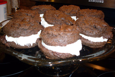 Chocolate Whoopie Pies with Marshmallow Fluff Frosting.