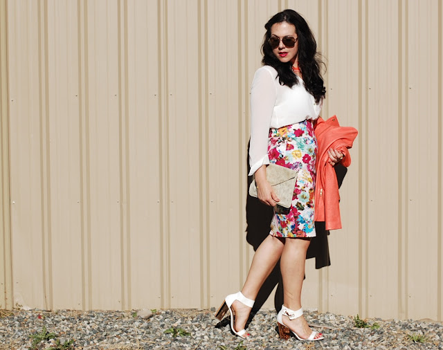Vancouver fashion blogger,Elenian leather Theory jacket, Floral pencil skirt, Topshop heels and a gold Gap clutch.