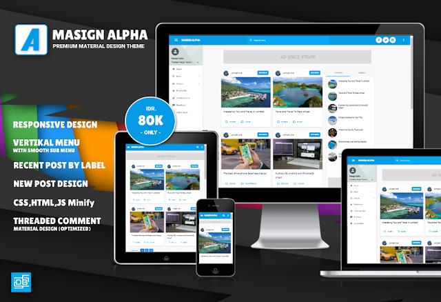 Masign Alpha Premium Material Design Blogger Template