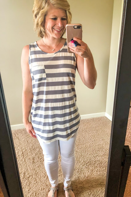 Stitch Fix review. Try Stitch Fix, personal styling subscription box. Grey and white striped one pocket knit tank top. White ankle length skinny jeans Summer style. Summer outfits