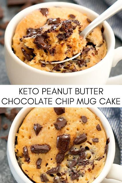 KETO PEANUT BUTTER CHOCOLATE CHIP MUG CAKE
