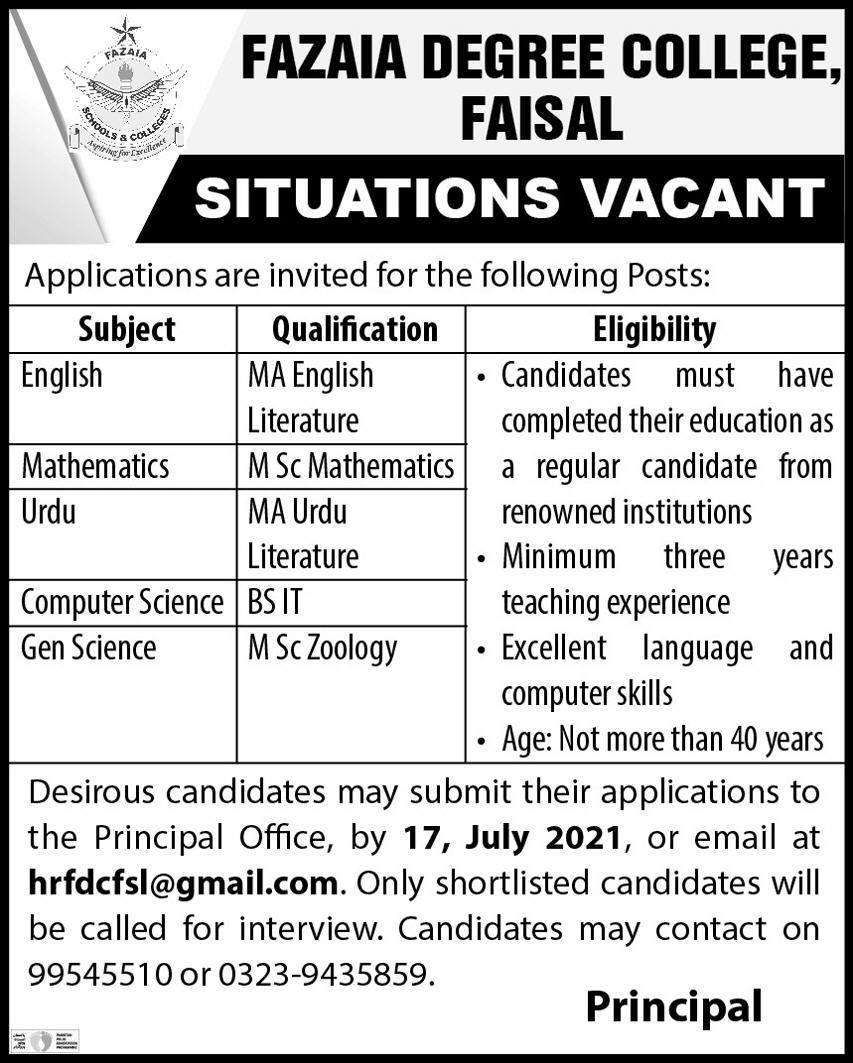 Fazaia Degree College Jobs 2021 in Pakistan