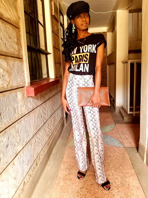 How To Wear A  Snakeprint Flared Pants Outfit