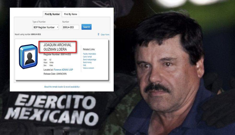 """El Buró Federal de Prisiones captura con errores el nombre de """"El Chapo"""" en su ficha de presidiario en EU"""