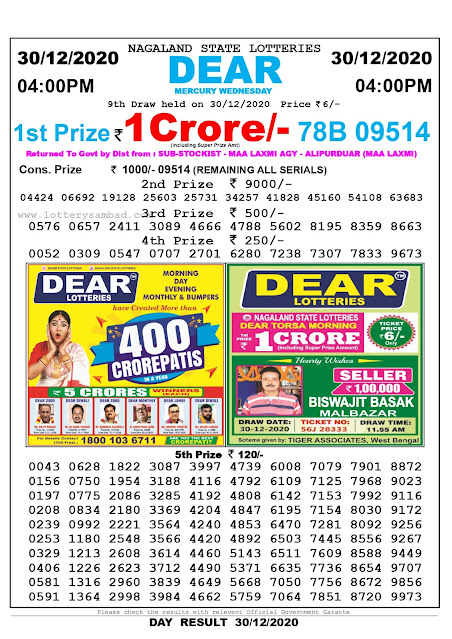 Lottery Sambad 30-12-2020 Today Results 4:00 pm,Nagaland State Lottery Sambad Today Result 4 pm,Sambad Lottery,Lottery Sambad Live Result Today