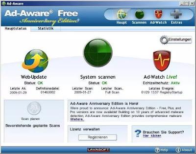 Lavasoft Ad-Aware Free Melindungi PC dari Spyware, Virus, Malware, dll