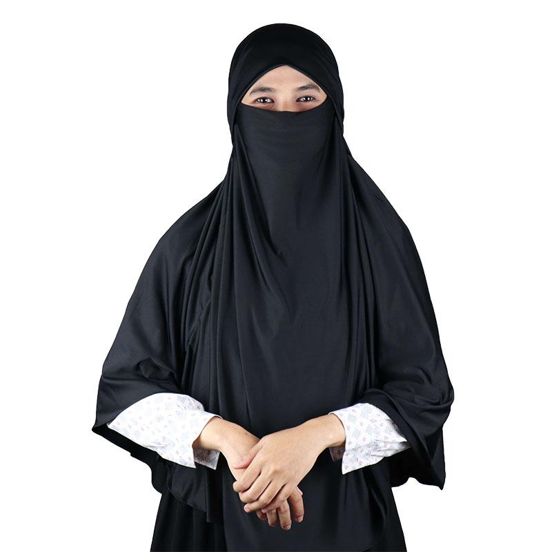 Kerudung Syari / Kerudung Corona Niqab Cadar - Hitam