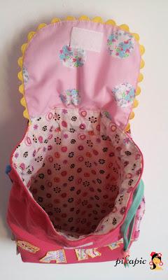 Interior mochila para la guardería personalizada Sara. Pikapic.