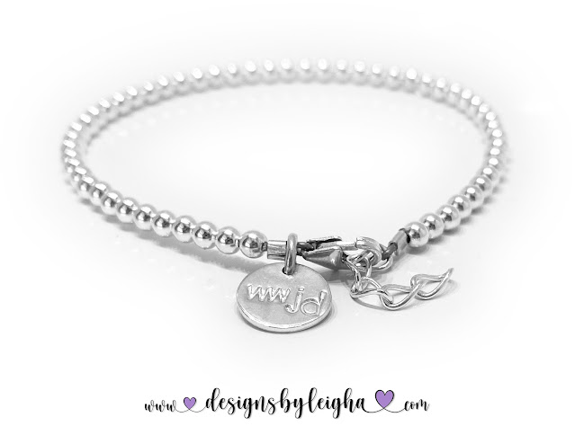 Small Sterling Silver Beaded WWJD Charm Bracele
