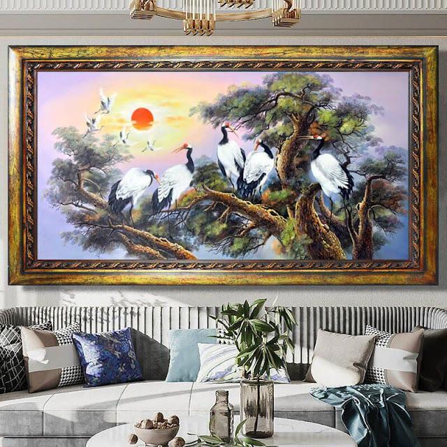 tranh sơn dầu phong cảnh tùng hạc