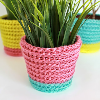 Summer Sherbet Crochet Planter Cover | The Inspired Wren